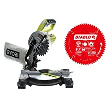 Ryobi Miter Saw. ONE+ 18-Volt 7-1/4 inch, model P551, Bare Tool with Diablo 7-1/4 in. x 60-Tooth Fine Finish Saw Blade