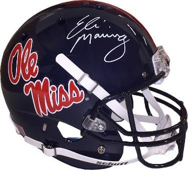 Image Unavailable. Image not available for. Color  Eli Manning signed Ole  Miss Rebels Dark Blue Full Size Replica Schutt Helmet ... a83145b00