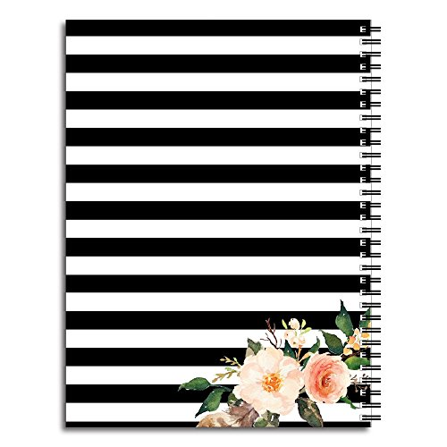 Classic Floral Personalized Floral and Stripe Spiral Notebook/Journal, 120 College Ruled or Checklist Pages, durable laminated cover, and wire-o spiral. 8.5x11 | 5.5x8.5 | Made in the USA Photo #2