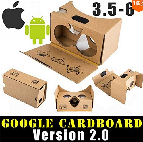 "Sunyounger SYG-RK3 DIY 2.0 Version Google Cardboard 3D Virtual Reality Glasses VR Case Box Headset Glasses Compatible with 3.5""-5.5"" IOS Android Smartphones For 3D Movies and Games …"