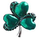 ACCESSORIESFOREVER Women St. Patrick's Day Jewelry Crystal Rhinestone Splendid Clover Leaf Brooch B160 SV