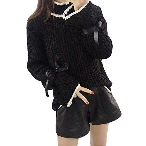 WOCACHI Damen Pullover Herbst Winter Frauen Cotton Elastic Twist Gestrickte Langarm Pullover (One Size, Schwarz)