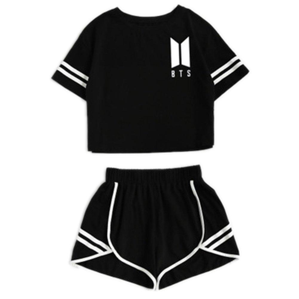 Kpop BTS T-Shirt Bangtan Boys Sport Exposed Navel Short Sleeve + Shorts Set Suga Jin Jimin Jung Kook J-Hope Rap-Monster V