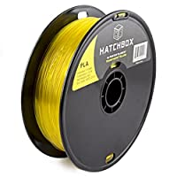 HATCHBOX PLA 3D Printer Filament, Dimensional Accuracy +/- 0.03 mm, 1 kg Spool, 1.75 mm, Transparent Yellow by HATCHBOX