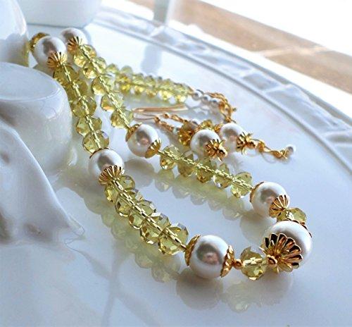 Yellow Green Crystal White Swarovski Pearl Necklace SET