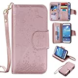 Galaxy S4 Case,S4 Cover,Gift_Source [Kickstand Feature] [9 Card Slots] Premium Emboss Flower PU Leather Purse Case Magnet Wallet Flip Folio Cover & Wrist Strap for Samsung Galaxy S4 i9500 [Rose Gold]