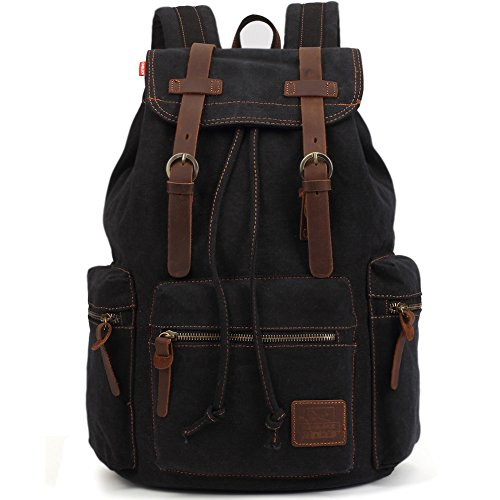 KAUKKO Vintage Casual Canvas and Leather Rucksack Backpack, for sale  Delivered anywhere in USA