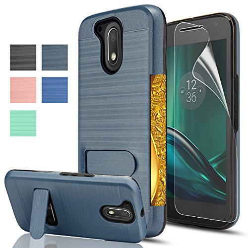 Moto G4/G4 Plus case,[Not fit Moto G4 Play],AnoKe[Card Slots Holder][Not Wallet] Kickstand Hard Plastic PC TPU Shockproof for Motorola Moto G 4th Gen/G Plus 4th Generation KC1 Metal Slate