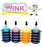 Premium Edible Ink Refill Kit for Canon Printer - 1 oz Bottles (BK / C / Y / M) by QQink