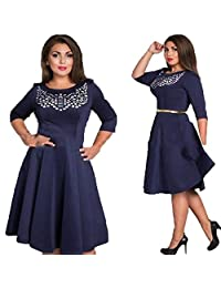 EkarLam® Vintage 3/4 Sleeve Outsize Fancy Outfit Tunic A-line Bubble Dress