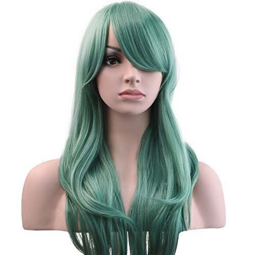 g Wavy Hair Women Cosplay Costume Party Wig(Green) ()