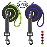 Bolux 5FT Strong Dog Leash, Heavy Duty Rope Leash with 2 Soft Padded Handle - Pet Training Lead with 3M Reflective Double Handle for Traffic Control Safety, Perfect for Medium and Large Dog(2 Pack)
