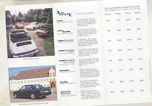 Amazon.com: 1985 Porsche 911 Turbo 944 928 190E 2.3-16 German Rental Brochure: Entertainment Collectibles