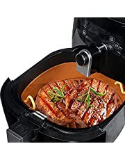 Air Fryer Silicone Pot with Easy Cleaning Design, Replacement for Parchment Paper Liners, Food Safe Air Fryer Oven Accessories, 8.5 Inches Diameter, Brown