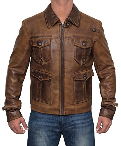 Mens Expendable Flap Pocket Brown Distress Leather Jacket | (Distress Leather Jacket)