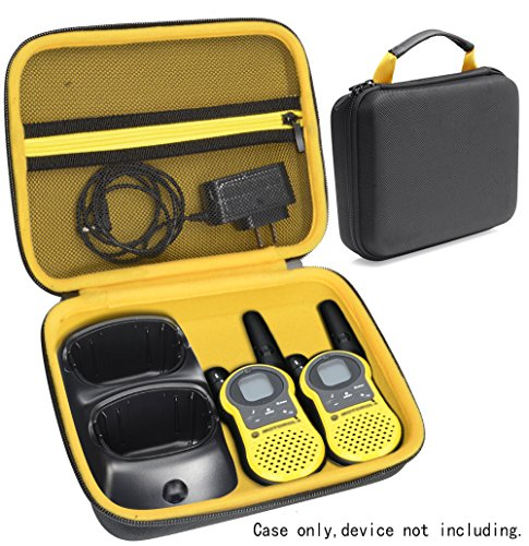 (Two Way Radio Speaker Case for Walkie Talkie Like Motorola, Sokos, Uniden, FLOUREON, Midland, Dimy, Galwad, Aikmi, BETECH and Others, mesh Pocket for Cable and Accessories, Featured Carrying Handle)