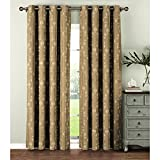 Window Elements  Geo Gate Embroidered Faux Linen Extra Wide 108 x 84 in. Grommet Curtain Panel Pair, Natural For Sale