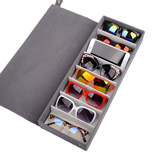 SweetyLady 8 Grids Deer Leather Eyeglass Sunglass Boxes Eyewear Storage Organizer Jewelry Display - On Online Try Spectacles