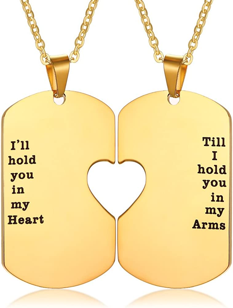 Mealguet Jewelry His and Hers Stainless Steel Matching Heart Dogtag Love Quote Engraved Pendant Necklace, Gay Couples Necklace