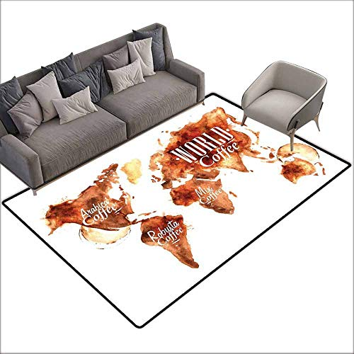 Rug Bathroom Mat Coffee,World Map Arabica Robusta and Mix Plants Geography Themed Stains Vintage,Burnt Sienna White 80