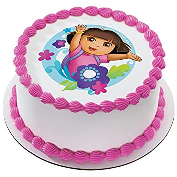 Amazon Dora The Explorer Flowers Licensed Edible 8 Round Cake