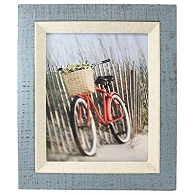 Fetco Home Decor Dennisport Reclaimed Wood with Linen Liner Photo Frame, 8 x 10 , Blue