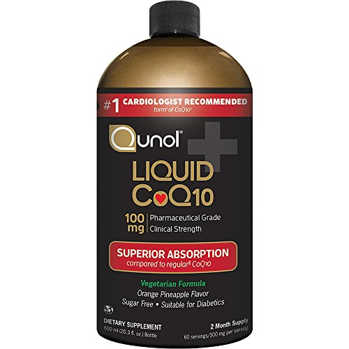 Qunol Liquid 100mg CoQ10, Superior Absorption Natural Supplement Form of Coenzyme Q10, Antioxidant for Heart Health, Orange Pineapple Flavored, 60 servings, 20.3 oz Bottle