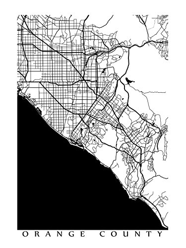 photograph about Printable Map of Orange County Ca named : Orange County Black and White Map Print: Selfmade