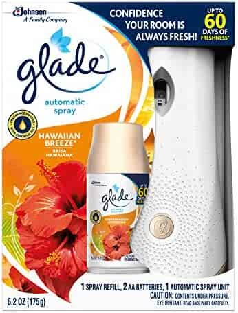 Glade Automatic Spray Holder and Hawaiian Breeze Refill Starter Kit, Battery-Operated Holder for Automatic Spray Refill, Up to 60 Days of Freshness, 10.2 oz, 1 6.2 oz Refill