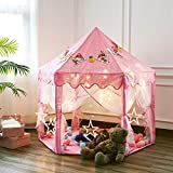 """Twinkle Star 55""""x 53"""" Princess Castle Play Tent for Girls Playhouse with 138 LED Star String Lights and Banners Decor, Kids Game House for Indoor Outdoor"""