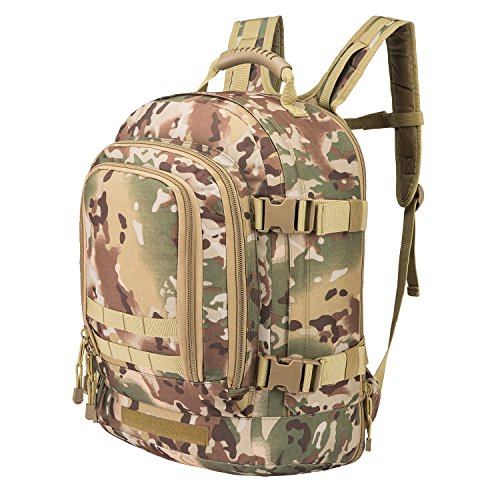 Tactical Rucksacks Backpack Expandable Large 3 Day Assault Pack Army Molle Water Resistant Comfortable Daypack with Hydration Compartments for Military Hunting Recreation Trekking School Bug Out Bag (Heavy Duty Bug Out Bag)