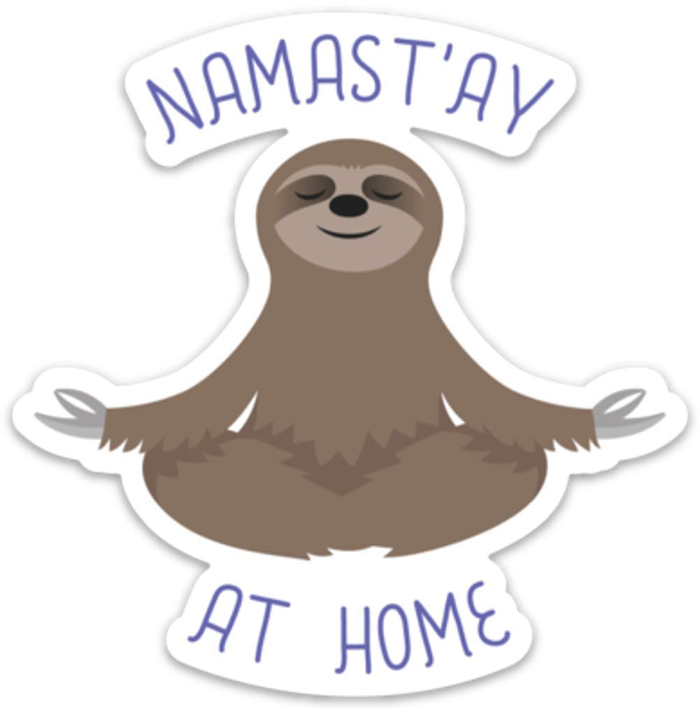 Amazon com sloth sticker decal meditating namaste at home 4 x 4 laptop water bottle arts crafts sewing