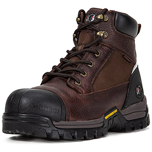 ROCKROOSTER Men's Work Boots, Waterproof Hiking Boot, Safety Shoes (AT872, US 10.5, Brown - Mens Waterproof Safety Boots