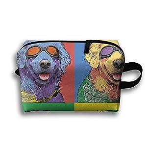 Color Dog Sunglasses Multifunction Travel Cosmetic Organizer Bag Wristlet Holder