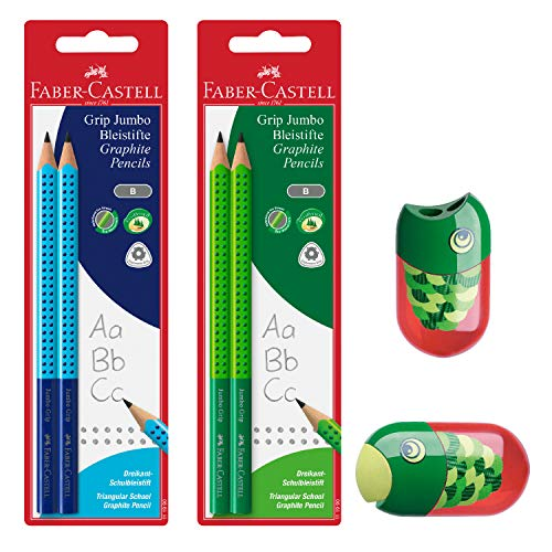 Faber Castell Jumbo Graphite Pencil Back to School Set - 4 Jumbo Pencils (Blue/Green) & Fish Pencil Sharpener ()