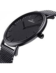 Tonnier Black Stainless Steel Slim Men Watch Quartz Watch