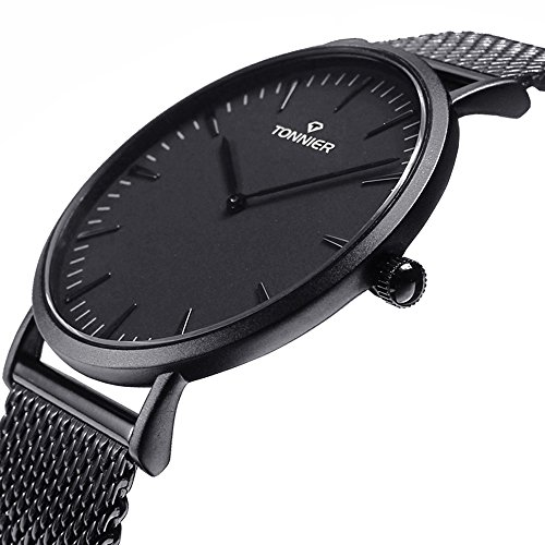 Tonnier Black Stainless Steel Slim Men Watch Quartz Watch Watches