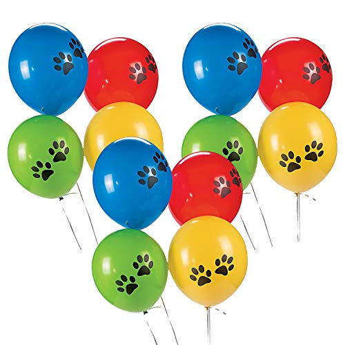Fun Express Paw Print Latex Balloons | Assorted Colors | 12 Count | Great for Animal-Themed Parties, Halloween Celebration, Puppy Party