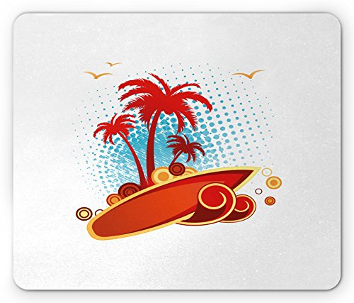 Gull Circle - Ambesonne Beach Mouse Pad, Exotic Halftone Background with Circles with Palms Seagulls Tropics, Standard Size Rectangle Non-Slip Rubber Mousepad, Vermilion Pale Blue Yellow