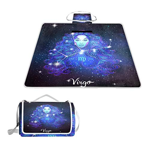 Printedin3D Constellation Zodiac Sign Virgo Beach Blanket Picnic Mat 57x59in for Outdoor Hiking Grass Travel