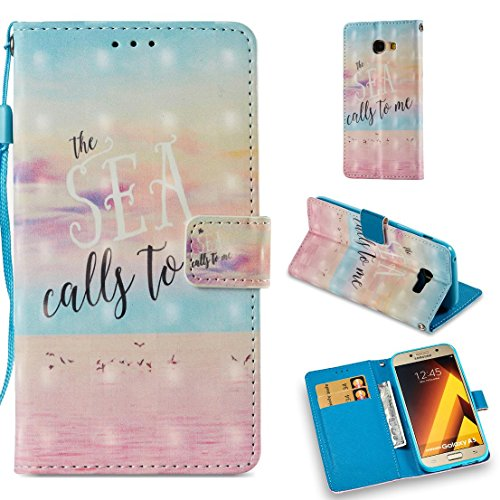 Firefish Galaxy A5 2017 Case,Flip Lightweight Wallet Case with Card Holder Cover Shock Proof Kickstand Folio Full Cover Case with Magnetic Folding Compatible Samsung Galaxy A5 2017 -Ocean Pink