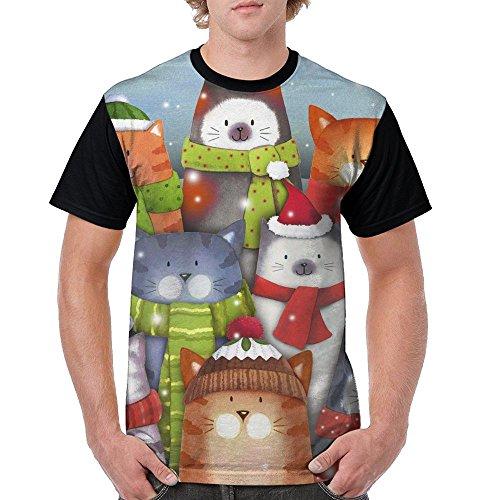Men's Cat Caroling Christmas Short Sleeve T-Shirt O-Neck Cotton 3D Printing Tees Casual T-Shirts]()
