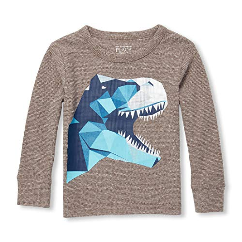 The Children's Place Baby Boys Long Sleeve Graphic Thermal TOP, Mouse Trail, 2T ()