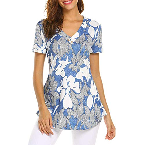 TWGONE Tunic Dresses For Women Short Sleeve Floral Print Top Fashion T Shirt Ladies Blouse(XX-Large,Blue)