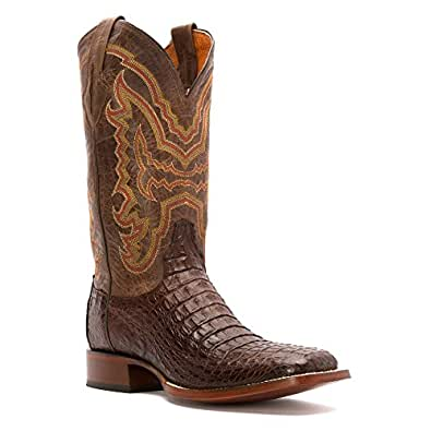 Lucchese Men's Handcrafted 1883 Hornback Caiman Cowboy Boot Square Toe Cigar 8.5 D(M) US