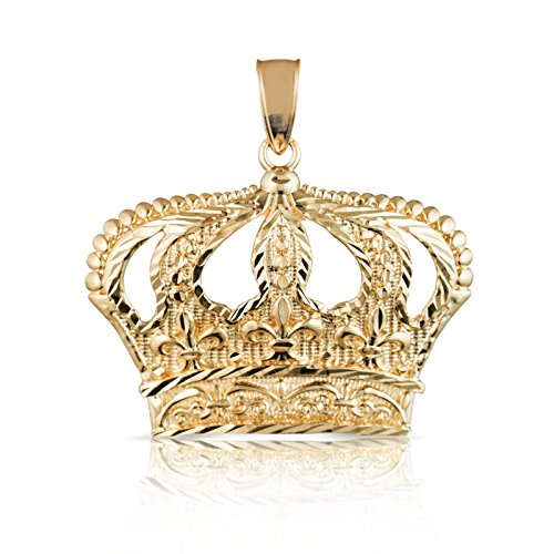 10k Yellow Gold Open Big Crown Charm Pendant with Diamond Cut Design, - Pendant 9k Gold