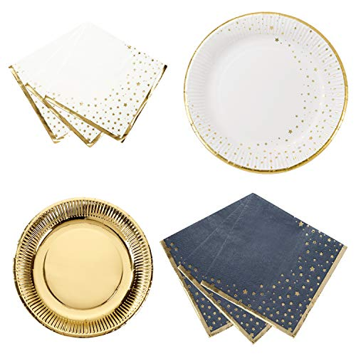 Talking Tables Metallic Gold Star Party Bundle for Christmas Year's Eve and Birthday Party | White and Gold Paper Plates & Paper Napkins ()