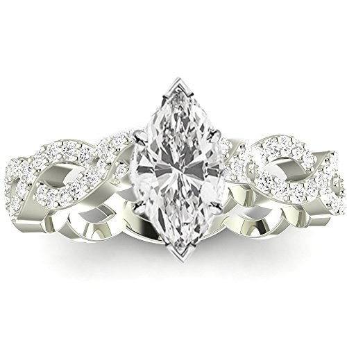 Love Marquise One Ring (1 Ctw 14K White Gold GIA Certified Marquise Cut Eternity Love Twisting Split Shank Diamond Engagement Ring, 0.75 Ct I-J VVS1-VVS2 Center)