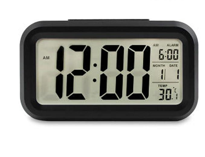 Reloj despertador digital con gran pantalla de alta definición, inteligente. Luz velada, para niños, adolescentes, jóvenes. Simple ya la moda. LED de ...