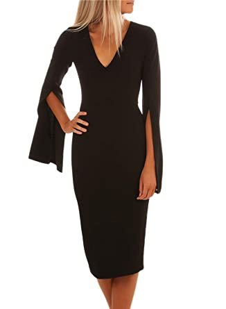 Azokoe Cocktail Dresses 2018 Sexy Bell Sleeves Pencil Formal Prom Gowns  Evening Party Wedding Guest Bodycon 8c00018f5